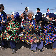 Alaska, People, Group of elders Inuits celebrating the 4th of July. Barrow, Alaska.