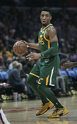 January 16, 2019 - Los Angeles, California, United States of America - Donovan Mitchell #45 of the Utah Jazz with the ball during their NBA game with the Los Angeles Clippers on Wednesday January 16, 2019 at the Staples Center in Los Angeles, California. Clippers lose to Jazz, 129-109. JAVIER ROJAS/PI (Credit Image: © Prensa Internacional via ZUMA Wire)