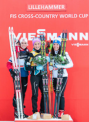 05.12.2015, Nordic Arena, NOR, FIS Weltcup Langlauf, Lillehammer, Damen, im Bild Heidi Weng (NOR), Therese Johaug (NOR), Charlotte Kalla (SWE) // Heidi Weng of Norway, Therese Johaug of Norway, Charlotte Kalla of Sweden during Ladies Cross Country Competition of FIS Cross Country World Cup at the Nordic Arena, Lillehammer, Norway on 2015/12/05. EXPA Pictures © 2015, PhotoCredit: EXPA/ JFK