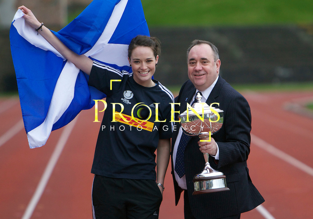Launch Of the Scottish Rugby Sports Relief 2012 by First Minister Alex Salmond.08-03-12...First Minister Alex Salmond meets Scottish stars taking part a Sports Relief celebrity challenge, including Cammy Mather, Scott Hastings and Miss Scotland Jennifer Reoch.  The event takes place on the 25th March... At Meddowbank Stadium,  Edinburgh..Picture, Mark Davison/ StockPix.EU.Wednesday 8th Match 2012
