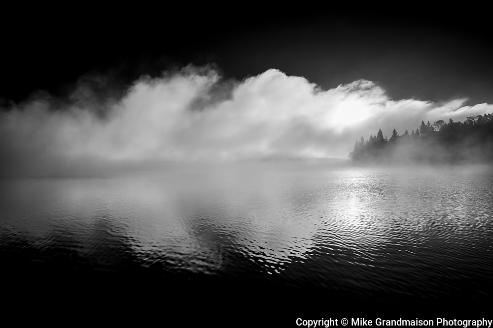 Fog at sunrise over Caddy Lake