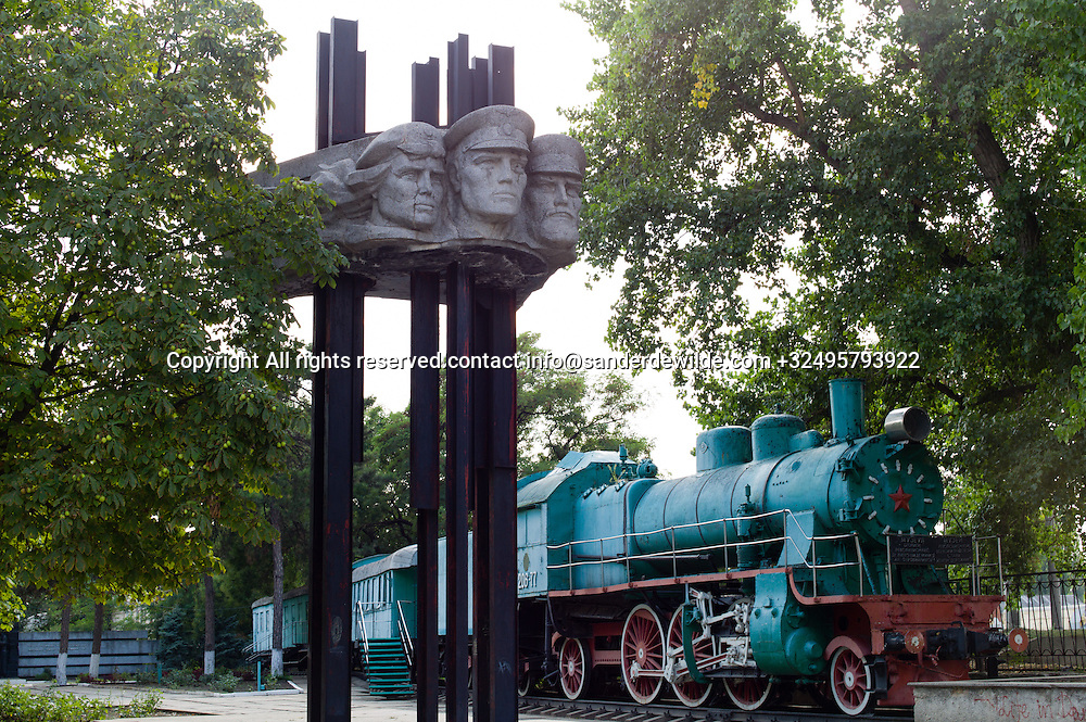 20150826 Bendery, Bender, Transnistria, Moldova.A green train at trainstation Bendery-1 now serves as a museum for the fallen in the war of secession from November 1990 to July 1992 between Moldova and Transnistria