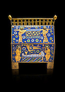 Medieval enamelled box depicting the entombment of a Saint, beginning of the 13th century from Limoges, enamel on gold. AD. Inv OA 949, The Louvre Museum, Paris. .<br /> <br /> If you prefer you can also buy from our ALAMY PHOTO LIBRARY Collection visit : https://www.alamy.com/portfolio/paul-williams-funkystock/limoges-enamel-antiquities.html Type - louvre - into the LOWER SEARCH WITHIN GALLERY box. <br /> <br /> Visit our MEDIEVAL ART PHOTO COLLECTIONS for more photos to download or buy as prints https://funkystock.photoshelter.com/gallery-collection/Medieval-Gothic-Art-Antiquities-Historic-Sites-Pictures-Images-of/C0000gZ8POl_DCqE