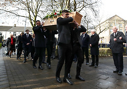 Stoke City goalkeeper Jack Butland (back left) and Chesterfield goalkeeper Joe Anyon (front left) carry the coffin during the funeral service for Gordon Banks at Stoke Minster.