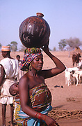 Life in the Sahel region of northern Nigeria, west Africa, early 1980s - woman carrying water