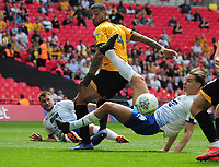 Football - 2018 / 2019 EFL Sky Bet League Two Play-Off Final - Newport County vs. Tranmere Rovers<br /> <br /> Joss Labadie of Newport heads just wide as Sid Nelson slides in, at Wembley Stadium.<br /> <br /> COLORSPORT/ANDREW COWIE