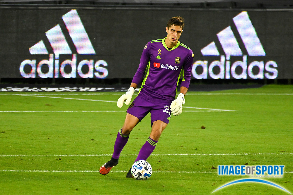 LAFC goalkeeper Pablo Sisniega (23) kicks the ball during a MLS soccer game, Sunday, Sept. 27, 2020, in Los Angeles. The San Jose Earthquakes defeated LAFC 2-1.(Dylan Stewart/Image of Sport)