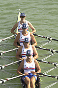 Seville, Andalusia, SPAIN<br /> <br /> 2002 World Rowing Championships - Seville - Spain Sunday 15/09/2002.<br /> <br /> Rio Guadalquiver Rowing course<br /> <br /> GBR W4X, Stroke Rebbeca ROMERO, Katherine GRIANGER, Sarah WINCKLESS and Allsion MOWBRAY<br /> <br /> [Mandatory Credit:Peter SPURRIER/Intersport Images]