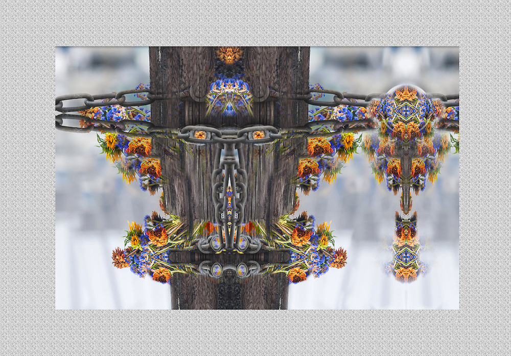 """""""Flower Child Peacekeeper 2"""", derivative image created from a photo of a marine piling and discarded flower bouquet, overcast light, September, Port Townsend Marina, Washington, USA"""
