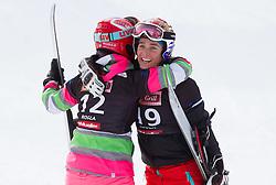 Ekaterina Tudegesheva of Russia and Nicolien Sauerbreij of Netherlands during FIS Snowboard World Cup Rogla 2013 in Parallel Giant slalom, on February 8, 2013 in Rogla, Slovenia. (Photo By Vid Ponikvar / Sportida.com)