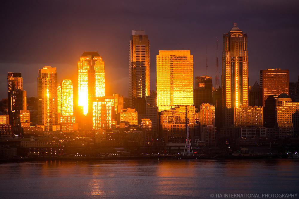 Seattle Skyline on Elliott Bay @ Dusk