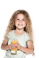 caucasian little girl portrait hold orange juice isolated studio on white background