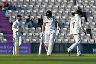 Wicket - Joe Root of Yorkshire looks dejected as he walks back to the pavilion after being dismissed by Liam Dawson of Hampshire during the Specsavers County Champ Div 1 match between Hampshire County Cricket Club and Yorkshire County Cricket Club at the Ageas Bowl, Southampton, United Kingdom on 11 April 2019.