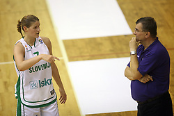 Maja Erkic and coach of Slovenian team Zeljko Ciglar at basketball qualification match of women division B  between National teams of Slovenia and Netherlands, on August 27, 2008, in Vitranc Hall, Kranjska Gora. Win of NED 83:81. (Photo by Vid Ponikvar / Sportida)