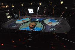07.10.2011,  O2 World, Hamburg, GER, DEL, Hamburg Freezers vs Eisbaeren Berlin, im Bild Feature Projektion der Mannschaft auf das Eis hier Benoit Laporte (Hamburg). // during match at O2 World 2011/10/07, Hamburg  EXPA Pictures © 2011, PhotoCredit: EXPA/ nph/  Witke       ****** out of GER / CRO  / BEL ******