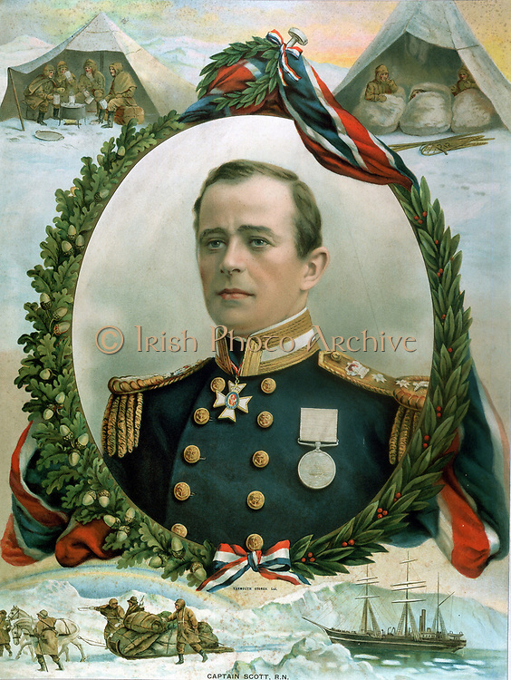 Robert Falcon Scott (1868-1912) British Antarctic explorer. Portrait surrounded by vignettes of fatal expedition to South Pole. Bot: 'Terra Nova'  their ship: With dogs and sledges: Top: Eating in tents on ice: In sleeping bags. From trade calendar for 1914. Lithograph