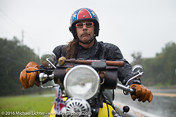 Doug Wothke broken down on the side of the road in a rainstorm with his 1929 Harley Davidson JD during Stage 2 of the Motorcycle Cannonball Cross-Country Endurance Run, which on this day ran from Lake City, FL to Columbus, GA., USA. Saturday, September 6, 2014.  Photography ©2014 Michael Lichter.