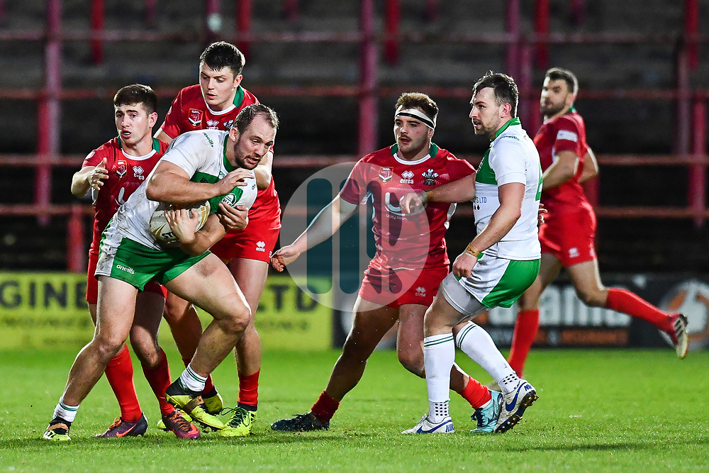 11th November 2018 , Racecourse Ground,  Wrexham, Wales ;  Rugby League World Cup Qualifier,Wales v Ireland ; George King of Ireland in action<br /> <br /> <br /> Credit:   Craig Thomas/Replay Images