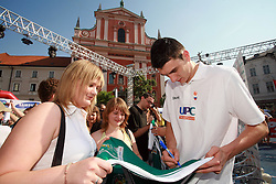 Emir Preldzic at press conference and after time with fans of Slovenian basketball National Team before departure to Athens for Olympic qualifications, on July 12, 2008, at Presernov trg, in Ljubljana, Slovenia. (Photo by Vid Ponikvar / Sportal Images)