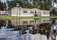 Flooded street in Bucksport, South Carolina following Hurricane Florence,