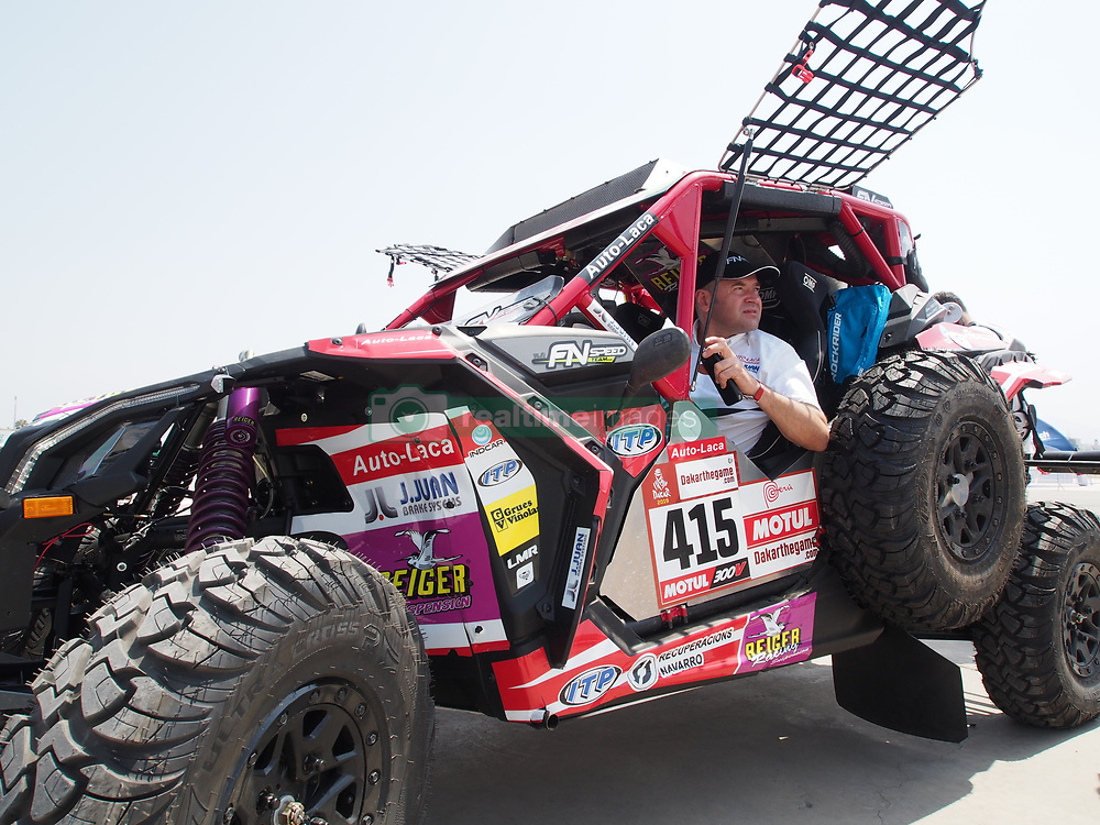 January 5, 2019 - Lima, Lima, Peru - Can Am 415, Dani Sola and Pedro Lopez from Spain, FN Speed team,  passing the technical scrutineering. The Dakar rally runs this year 100% in Peru. (Credit Image: © Carlos Garcia Granthon/ZUMA Wire)