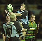 Photo Peter Spurrier<br /> 07/12/2002<br /> European Rugby - Heineken Cup Northamton vs Cardiff.<br /> Cardiff full back Rhyss Williams collects the high ball.