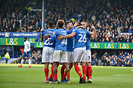 Portsmouth Players Celebrate after Portsmouth Midfielder, Gareth Evans (26) scores a goal to make it 3-1 during the EFL Sky Bet League 1 match between Portsmouth and Rochdale at Fratton Park, Portsmouth, England on 13 April 2019.
