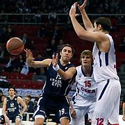 Anadolu Efes's Sasha Vujacıc (L) during their Euroleague Top 16 basketball match Anadolu Efes between CSKA Moscow at the Abdi Ipekci Arena in Istanbul at Turkey on Thursday, March, 01, 2012. Photo by TURKPIX