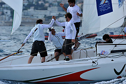 Damien Iehl and his French Match Racing Team celebrate their win at Match Race France. Photo:Chris Davies/WMRT
