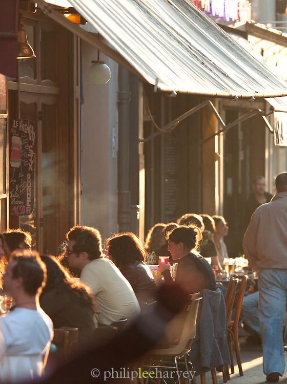 Restaurant terrace in Belleville, Paris, France