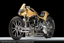 """""""Zonnegodin"""", a custom S&S knuckle drag bike built by Yuchi Yoshikawa and Yoshikazu Ueda of Custom Works Zon in Shiga Prefecture, Japan. Photographed by Michael Lichter in Sturgis, SD on August 3, 2016. ©2016 Michael Lichter."""