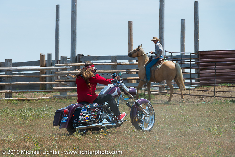 Bean're riding at the Spur Creek Ranch north of Sturgis during a stop for food and cowboy games on the annual Michael Lichter - Sugar Bear Ride hosted by Jay Allen from the Easyriders Saloon during the Sturgis Black Hills Motorcycle Rally. SD, USA. Sunday, August 3, 2014. Photography ©2014 Michael Lichter.