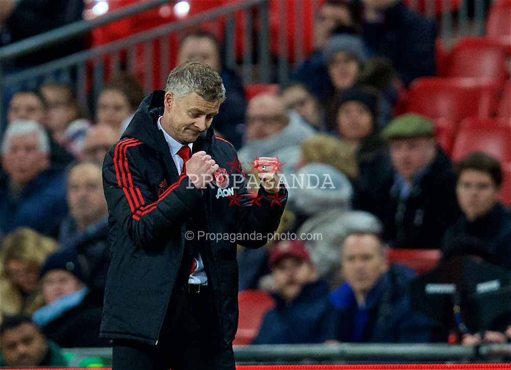 LONDON, ENGLAND - Sunday, January 13, 2019: Manchester United's manager Ole Gunnar Solskjær celebrates at the final whistle after his side's 1-0 victory during the FA Premier League match between Tottenham Hotspur FC and Manchester United FC at Wembley Stadium. (Pic by David Rawcliffe/Propaganda)