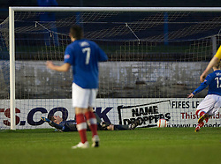 Cowdenbeath's Jamie Stevenson (7) scoring their fourth goal from a free kick past Falkirk's keeper Michael McGovern..Cowdenbeath 4 v 1 Falkirk, 9/2/2013..©Michael Schofield.