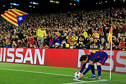 Barcelona fans look on as Lionel Messi prepares to take a corner - Mandatory by-line: Matt McNulty/JMP - 14/03/2018 - FOOTBALL - Camp Nou - Barcelona, Catalonia - Barcelona v Chelsea - UEFA Champions League - Round of 16 Second Leg