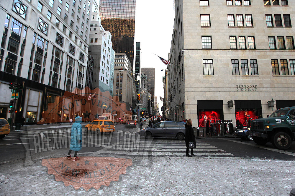 Near empty sidewalks are seen in the Manhattan borough shopping district of New York on Thursday, Jan. 23, 2014. A recent snow storm created by a polar vortex, dumped almost a foot of snow in some areas of New York City, followed by bitter cold. The NFL plans on featuring the Super Bowl at MetLife stadium in New Jersey on February 3rd amid growing concerns about more snow and bitter cold arriving just prior to the game.  (AP Photo/Alex Menendez)