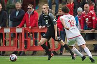 Fotball<br /> 18.04.2018<br /> Norgesmesterskap<br /> Stemmemyren<br /> Sandviken - Brann<br /> Ivar Stenberg Skaar (L) , Sandviken<br /> Nicholas Marthinussen  (R) , Brann<br /> Foto: Astrid M. Nordhaug