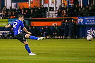 Sheffield Wednesday defender Jordan Thorniley (12) shoots towards the goal during the The FA Cup 3rd round replay match between Luton Town and Sheffield Wednesday at Kenilworth Road, Luton, England on 15 January 2019.