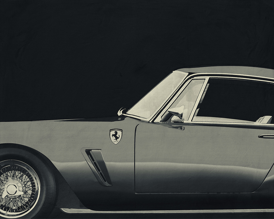 """One of the most notable GT racers of its time, the 1959 250 GT Berlinetta SWB used a short (2,400 mm (94.5 in)) wheelbase for better handling. Of the 176 examples built, both steel and aluminum bodies were used in various road (""""lusso"""") and racing trims. Engine output ranged from 240 PS (177 kW; 237 hp) to 280 PS (206 kW; 276 hp). The """"lusso"""" road car version was originally fitted with 185VR15 Pirelli Cinturato (CA67).<br /> 250 GT Berlinetta SWB interior<br /> <br /> -<br /> <br /> BUY THIS PRINT AT<br /> <br /> FINE ART AMERICA<br /> ENGLISH<br /> https://janke.pixels.com/featured/ferrari-250-gt-swb-berlinetta-1957-jan-keteleer.html<br /> <br /> WADM / OH MY PRINTS<br /> DUTCH / FRENCH / GERMAN<br /> https://www.werkaandemuur.nl/nl/shopwerk/Ferrari-250-GT-SWB-Berlinetta-1957-B-amp-W/544597/134"""