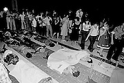 On May 9, 1979, a symbolic occupation of San Salvador's Metropolitan Cathedral by the leftist Popular Revolutionary Block – BPR – turned deadly as a cadre of national police turned their weapons on demonstrators killing 24 and wounding scores. The attack on the peaceful demonstration was seen as a coordinated effort - in a very public way - by the sitting Romero government against left wing demonstrations.<br /> As gunfire continued, at least one demonstrator fired back at the troops with a small pistol, provoking a prolonged response.<br /> In what was interpreted as  a gruesome message to the left wing groups, the demonstrators fallen bodies were left on the cathedral steps for nearly 24 hours and the wounded sealed inside the church with little aid.<br /> Midday, on May 10, 1979, police withdrew from their cordon around the cathedral and the dead were taken into the sanctuary and draped with BPR banners as mourners filed by.<br /> Thousands would join the leftist demonstrators for a funeral march to a San Salvador cemetery.