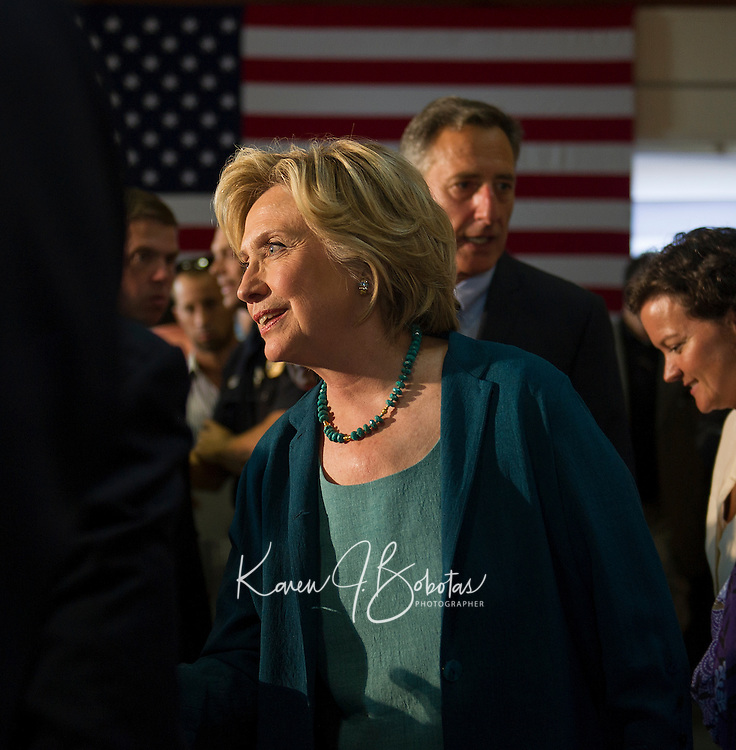 Hillary Clinton shakes hands with community members following the forum on substance abuse at the Laconia Boys and Girls Club Thursday afternoon.  (Karen Bobotas/for the Laconia Daily Sun)