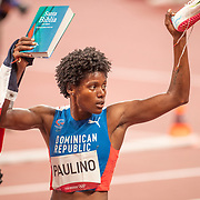 TOKYO, JAPAN August 6:   Marileidy Paulino of the Dominican Republic celebrates her silver medal in the 400m for women making her the most decorated female olympic runner during the Track and Field competition at the Olympic Stadium  at the Tokyo 2020 Summer Olympic Games on August 6th, 2021 in Tokyo, Japan. (Photo by Tim Clayton/Corbis via Getty Images)
