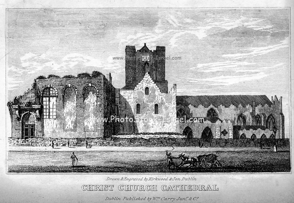 CHRIST CHURCH CATHEDRAL, from Castle street From the guide book ' The new picture of Dublin : or Stranger's guide through the Irish metropolis, containing a description of every public and private building worthy of notice ' by Hardy, Philip Dixon, 1794-1875. Published in Dublin in 1831 by W. Curry.