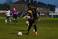 Marine forward Mo Touray (10) looks to make a pass during the The FA Cup match between Marine and Havant & Waterlooville FC at Marine Travel Arena, Great Crosby, United Kingdom on 29 November 2020.