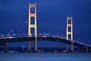 The Mackinaw Bridge, Between Michigan's Upper And Lower Peninsulas At Night