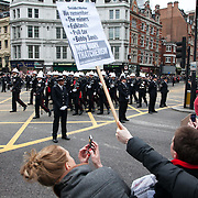 The funeral of former Prime Minister Margaret Thatcher who died Monday April 8.The funeral of Margaret Thatcher and the huge costs of it has sparked controversy and a number of protesters turned up to show their dissent and to turn their back on the procession.