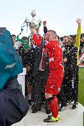 WREXHAM, WALES - Monday, May 2, 2016: The New Saints' goalkeeper Paul Harrison with the trophy after the 2-0 victory over Airbus UK Broughton during the 129th Welsh Cup Final at the Racecourse Ground. Phil Baker, Chris Marriott, goalkeeper Paul Harrison. (Pic by David Rawcliffe/Propaganda)