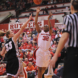 Feb 21, 2009; Piscataway, NJ, USA; Rutgers guard/forward Brooklyn Pope (32) takes a shot during the second half of Rutgers' 55-42 victory over Providence at the Louis Brown Athletic Center.