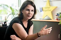 02 JUL 2019, BERLIN/GERMANY:<br /> Annalena Baerbock, MdB, B90/Gruene, Parteivorsitzende, waehrend einem Interview, in ihrem Buero, Jakob-Kaiser-Haus, Deutscher Bundestag<br /> IMAGE: 20190702-01-013