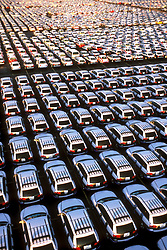 Stock photo of an aerial view of an automobile manufacturer's storage facility